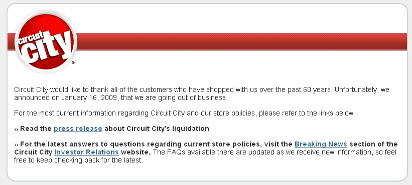 Dmurry Blog Archive Circuit City From Good To Great Gone